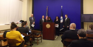 Policy Director Victoria Bragunier speaks at the press conference introducing the bill to end converion therapy